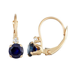 Blue Sapphire 10K Gold Drop Earrings