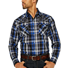 Ely Cattleman Long Sleeve Snap Embroidered Yoke Western Shirt