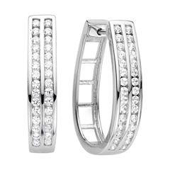 1 CT. T.W. Diamond Sterling Silver Hoop Earrings
