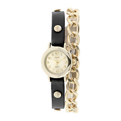 Decree® Womens Black Strap and Chain-Link Wrap Watch