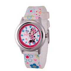 Disney Minnie Mouse Girls White Strap Watch-Wds000163