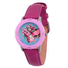 Disney Minnie Mouse Girls Purple Strap Watch-Wds000183
