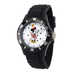 Disney Minnie Mouse Womens Black Strap Watch-Wds000260