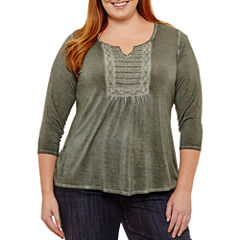 Unity World Wear 3/4 Sleeve Washed Knit Blouse - Plus