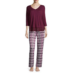 Ambrielle 2-pc. 3/4 Sleeve Top &Pant Pajama Set
