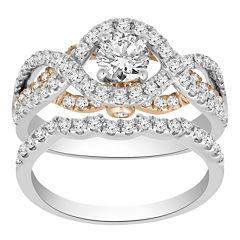 Womens 1 1/3 CT. T.W. Genuine White Diamond 14K Gold Bridal Set