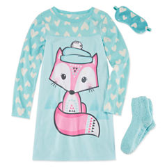 Jelli Fish Kids 3 Pc Gown Eyemask And Socks Long Sleeve Nightgown-Big Kid Girls