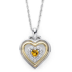 Citrine & Lab-Created White Sapphire Two-Tone Heart Pendant Necklace