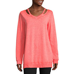 Flirtitude Cut Out Neck Sweatshirt-Juniors