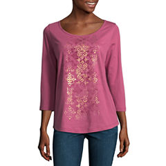 St. John's Bay Active 3/4 Sleeve V Neck T-Shirt-Womens