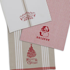 Design Imports Set of 3 Vintage Christmas Kitchen Towels