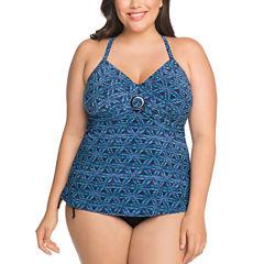 St. John's Bay Geometric Tankini Swimsuit Top or Adjustable Brief Bottom-Plus