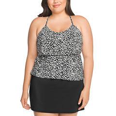 St. John's Bay Geometric Tankini Swimsuit Top or Skirted Pant-Plus