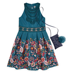 Knit Works Floral Border Sleeveless Skater Dress w/ Purse- Girls' 7-16