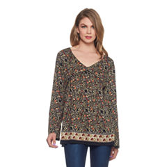 Skyes The Limit Sullivan County Bell Sleeve Foulard Border Blouse- Plus
