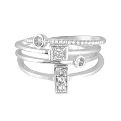 a.n.a® 4-pc. Cubic Zirconia Silver-Tone Ring Set