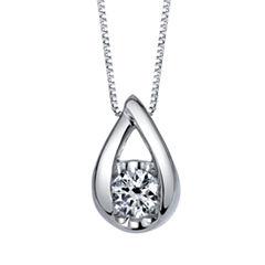 Sirena Womens 1/2 CT. T.W. White Diamond 14K Gold Pendant Necklace