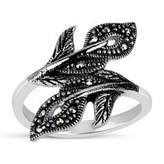Swarovski Marcasite Sterling Silver Bypass Ring