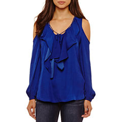 Bisou Bisou Tie Front Cold Shoulder Top