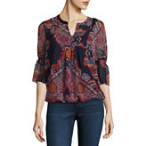 Liz Claiborne Long Sleeve Split Crew Neck Woven Blouse