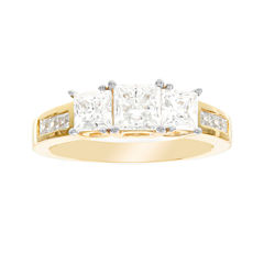 Diamonart® 10K Yellow Gold Cubic Zirconia 2.66 C.T. T.W. 3 Stone Princess Ring