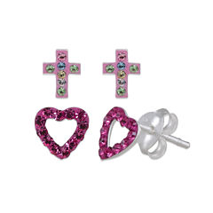 Multi Color Crystal Sterling Silver Earring Sets