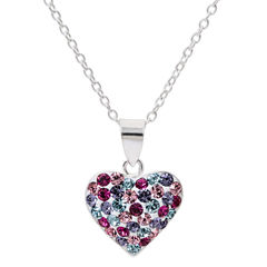Sterling Silver Multi Color Crystal Heart  Pendant Necklace