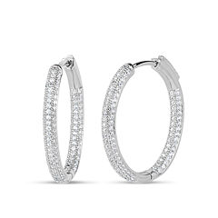 2 1/2 CT. T.W. White Cubic Zirconia Sterling Silver Hoop Earrings