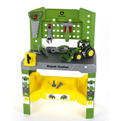 Theo Klein John Deere Repair Station Workbench & John Deere Take A Part Tractor