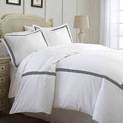 Pacific Coast Textiles 600TC Luxury Cotton 3pc Contrast Band Duvet Set