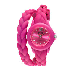 TKO ORLOGI Womens Crystal-Accent Braided Pink Silicone Strap Wrap Watch