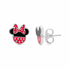 Disney Mickey And Minnie Sterling Silver Stud Earrings