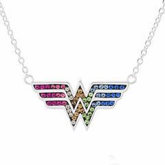DC Comics® Wonder Woman Brass Rainbow Crystal Pendant Necklace