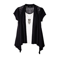 by&by Girl Short-Sleeve Owl Layered Top - Girls 7-16