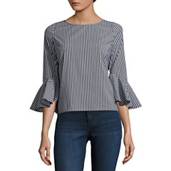 by&by 3/4 Sleeve Round Neck Poplin Stripe Blouse-Juniors