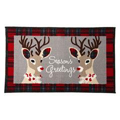 North Pole Trading Co. Holiday Reindeer Rectangular Rug