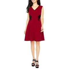 Liz Claiborne Sleeveless Embellished Fit & Flare Dress