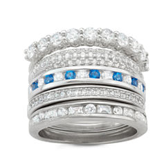 Diamonart Womens 2 CT. T.W. Lab Created Round White Cubic Zirconia Sterling Silver Band
