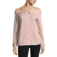 Worthington Button Front Off The Shoulder Shirt