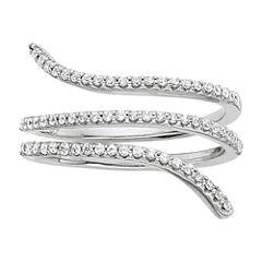1/3 CT. T.W. Diamond 10K White Gold 3-Row Coil Ring