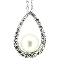 Freshwater Pearl & Lab-Created Sapphire Pendant Necklace