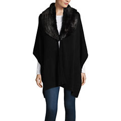Mixit Faux Fur Trim Fleece Cold Weather Wrap