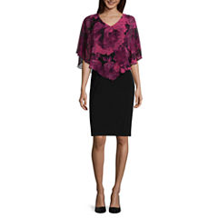 Connected Apparel Elbow Sleeve Floral Cape Sheath Dress