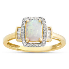 Womens Lab Created Opal 10K Gold Cocktail Ring