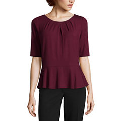 Liz Claiborne Elbow Sleeve Peplum Top