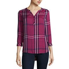 St. John's Bay Long Sleeve Fitted Sleeve Henley Shirt