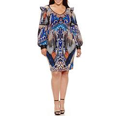 Bisou Bisou Long Sleeve Sheath Dress-Plus