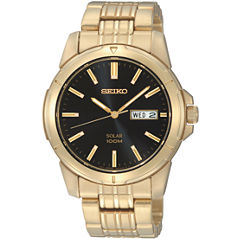 Seiko® Mens Gold-Tone Stainless Steel Solar Watch SNE100