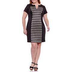 Connected Apparel Short Sleeve Chevron Shift Dress-Plus