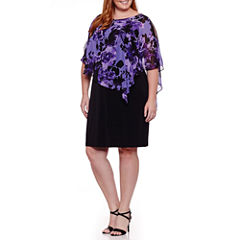 Connected Apparel Elbow Sleeve Floral Shift Dress-Plus